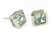 Oblique Stud Earrings in Palladium by Catherine Iskiw (Palladium & Stone Earrings)