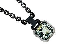 Oblique Pendant in Blackened Silver by Catherine Iskiw (Silver & Stone Pendant)