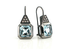 Oblique Ear wires in Blackened Silver with Diamonds by Catherine Iskiw (Silver & Stone Earrings)
