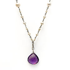 Large Faceted Amethyst Drop Pearl Necklace by Kathleen Lynagh (Silver & Stone Necklace)