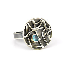 Tangle Inverted Dome Ring with Apatite by Janet Blake (Silver & Stone Ring)