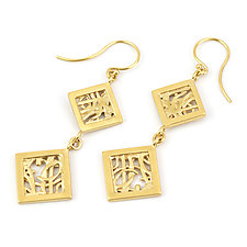 Tangle Rhombus Dangles by Janet Blake (Gold or Silver Earrings)
