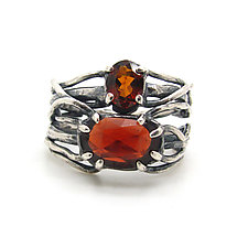 Autumn Leaves Ring by Lauren Passenti (Silver & Stone Ring, Size 7.75)