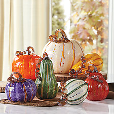 Cornucopia Pumpkins by Leonoff Art Glass (Art Glass Sculpture)