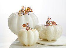 Silver Moon Pumpkins by Treg  Silkwood (Art Glass Sculpture)