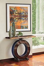 Blue Big O with Wood Top by Ben Gatski and Kate Gatski (Metal Console Table)