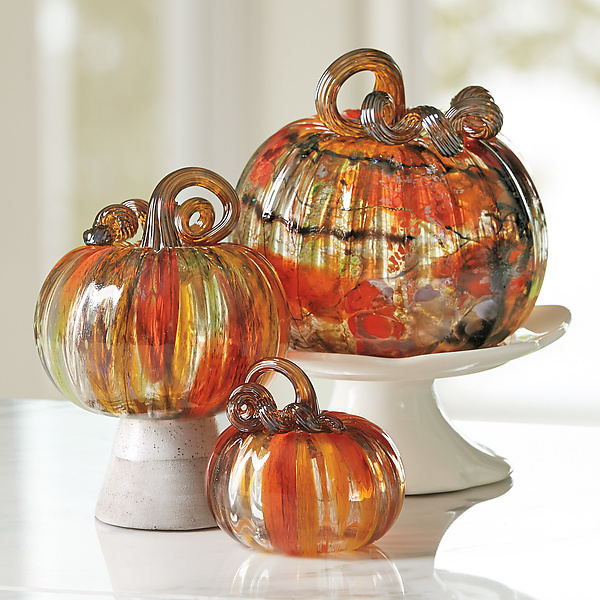 Harvest Surreal Pumpkins with Amber Stems