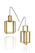 Small Top Square Earrings by Donna D'Aquino (Brass Earrings)