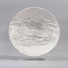 White Platter with Silver Lines by Lois Sattler (Ceramic Platter)