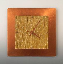 Yellow Square by Linda Lamore (Metal Clock)