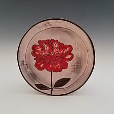 Peony Dessert Plate by Whitney Smith (Ceramic Platter)