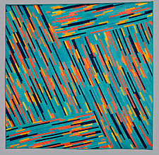 Teal, Coral, and Gold by Judith Larzelere (Fiber Wall Hanging)