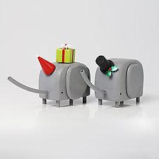 Holiday Elephants by Hilary Pfeifer (Wood Sculpture)