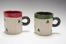 Short Christmas Tree Holiday Mug Set by Vaughan Nelson (Ceramic Mug)