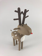 Red-Nosed Reindeer by Hilary Pfeifer (Wood Sculpture)