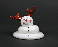 Melting Reindeer Snowman by Thomas Kelly (Art Glass Paperweight)