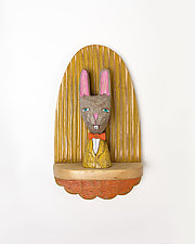 Brown Rabbit Mini by Amy Arnold and Kelsey  Sauber Olds (Wood Wall Sculpture)