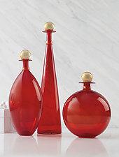 Cherry Red Original Jewel Bottles by Vetro Vero (Art Glass Vessel)