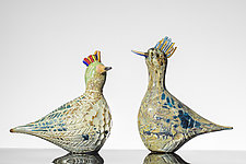Golden Pheasants by Martin Ehrensvard (Art Glass Sculpture)