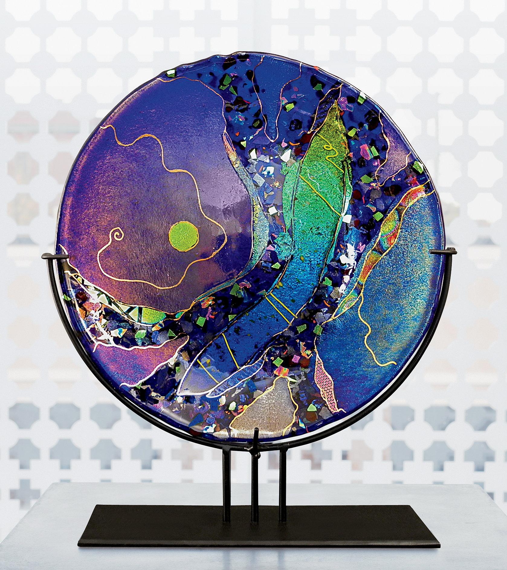 Sapphire Moon By Karen Ehart Art Glass Sculpture