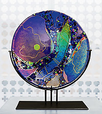 Sapphire Moon by Karen Ehart (Art Glass Sculpture)