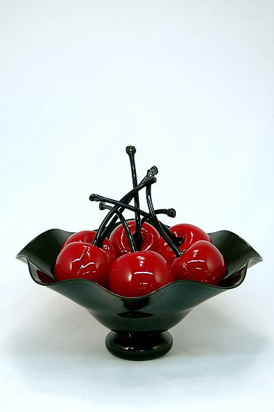 Black Fluted Bowl of Cherries