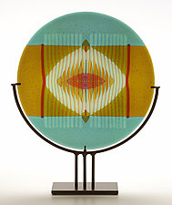 Turquoise Border Medallion Panel by Lynn Latimer (Art Glass Sculpture)