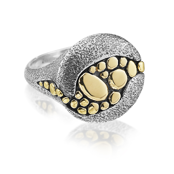 Riverbed Ring in Mixed Metals