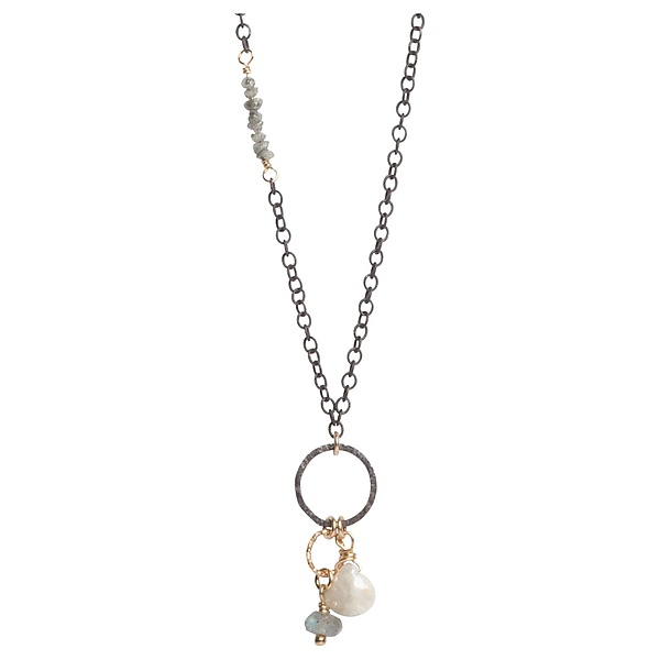 Sophie Gray Diamond Inset Necklace with Labradorite and Sillimanite Gemstones