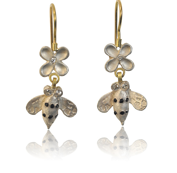 Small Silver Bees with Diamond Flowers on Wires