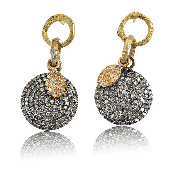 Large Pave Disk Earrings with Gold Pave Charm