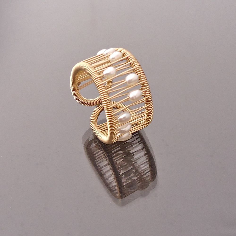 Pearl Kinetic Ring On Gold Filled Wire By Tana Acton Gold