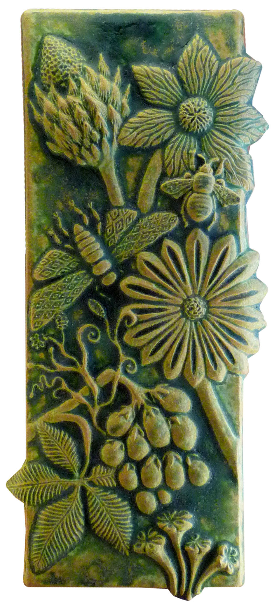 Botanical & Bugs Ceramic Tile in Green Ochre
