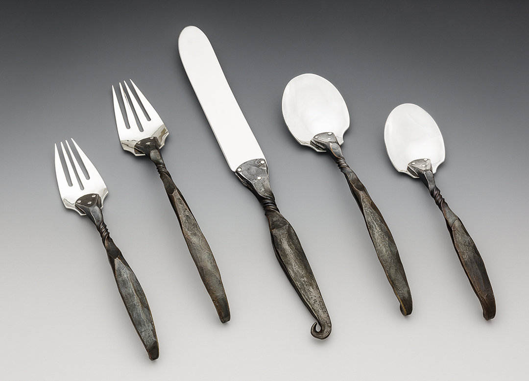 Twist place setting by nicole and harry hansen metal flatware artful home - Twisted silverware ...
