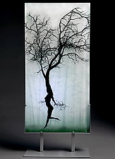 Dancer in the Mist by Paul Messink (Art Glass Sculpture)