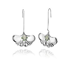 Summer Ginkgo Leaf Earring by ChiaChien Tsai (Silver & Stone Earrings)