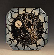 Midnight Tree Plate by Sara Meehan (Ceramic Plate)