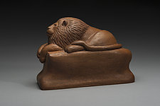 A Literary Lion by Marceil DeLacy (Wood Sculpture)