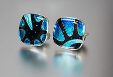 Silver and Cloisonne Cuff Links with Onyx by Jan Van Diver (Enameled Cuff Links)