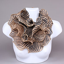 Infinity Scarf in Beige by Min Chiu  and Sharon Wang  (Silk Scarf)