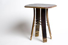 Wine Barrel Side Table by Wes Walsworth (Wood & Steel Side Table)