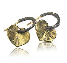 Small 18k Bleeding Heart Hoop Charms by Rebecca  Myers (Gold, Silver & Stone Earrings)