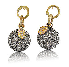 Large Pave Disk Earrings with Gold Pave Charm by Rebecca  Myers (Gold, Silver & Stone Earrings)