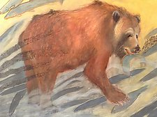 Bear and Salmon by Diana Arcadipone (Watercolor Painting)
