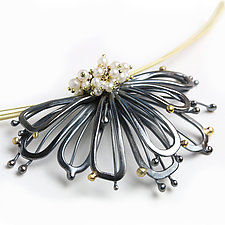 Midnight Petals with Pearl Cluster by Wendy Stauffer (Gold, Silver & Pearl Necklace)