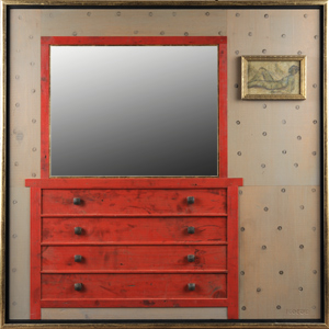 In My Room (The Red Dresser): Richard Rockford: Mixed-Media Mirror - Artful Home :  mirror home furniture artful home