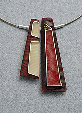 Carved Two Tri Necklace by Eileen Sutton (Silver & Resin Necklace)