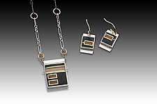 Rec Set in Black and Yellow by Eileen Sutton (Gold, Silver & Resin Jewelry)