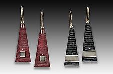 Carved Tri Earrings by Eileen Sutton (Silver & Resin Earrings)