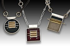 Squared Pendants by Eileen Sutton (Gold, Silver & Resin Necklace)